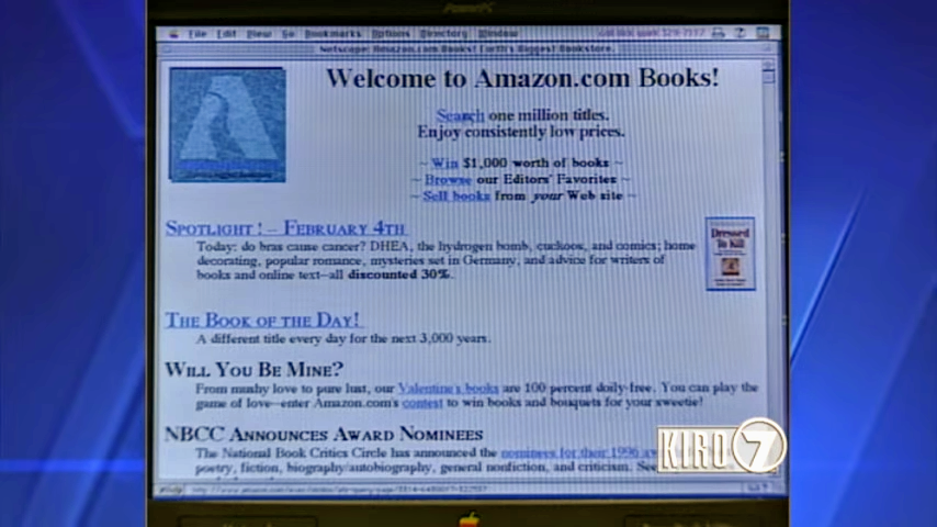 Amazon.com homepage image from 1997