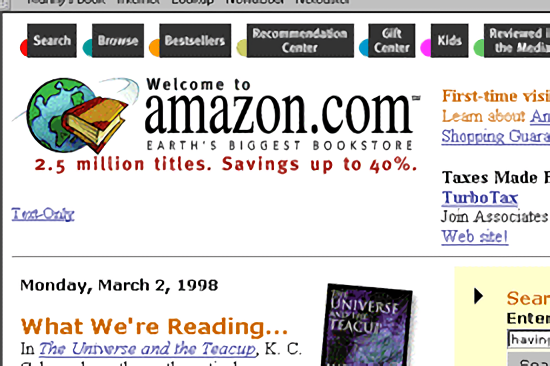 "Homepage with ""Earth's Biggest Bookstore"" slogan (1998)"