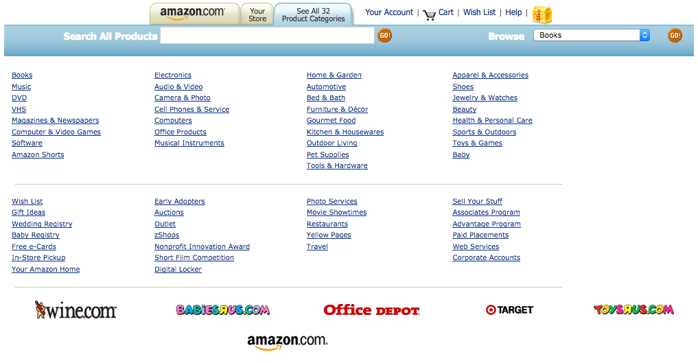 Amazon product categories with Toys-R-Us and Target (2005)