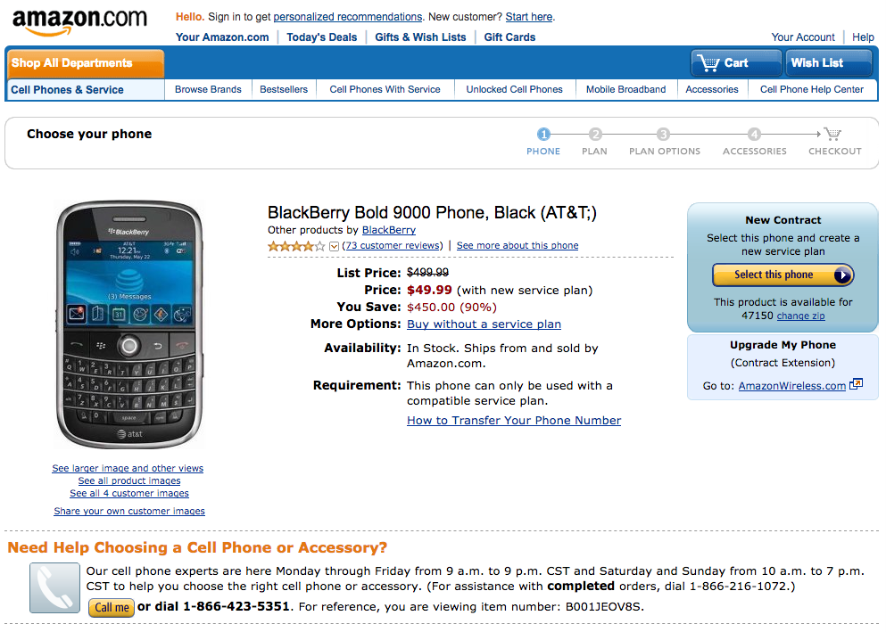 Amazon Blackberry Bold 9000 product page (2009)