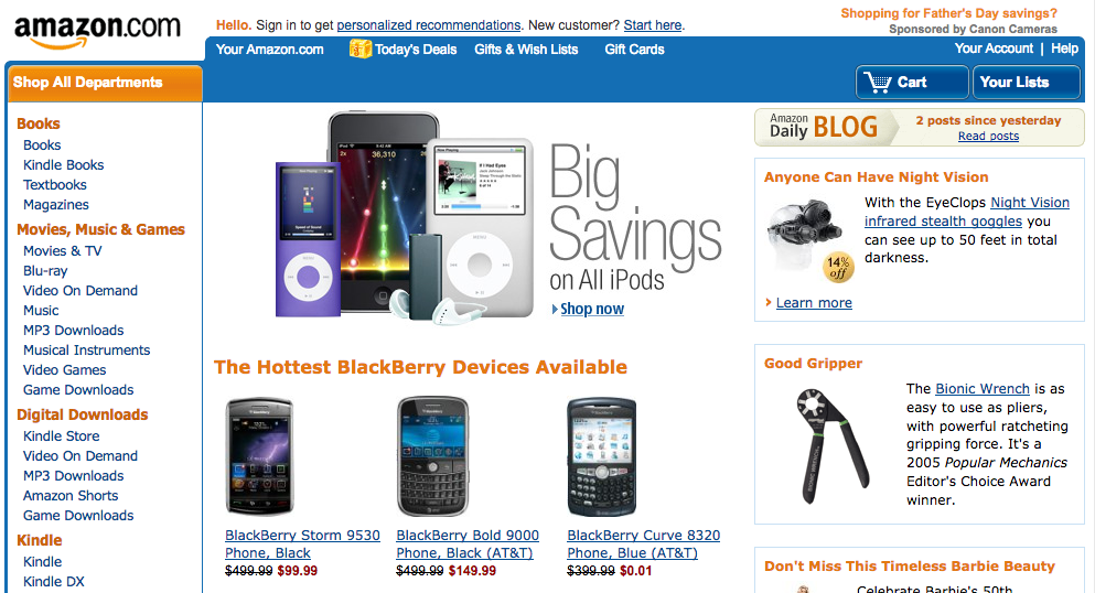 Amazon homepage with iPods and Blackberries (2009)