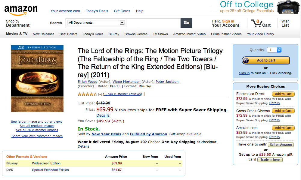 Amazon product page for Lord Of The Rings (2012)