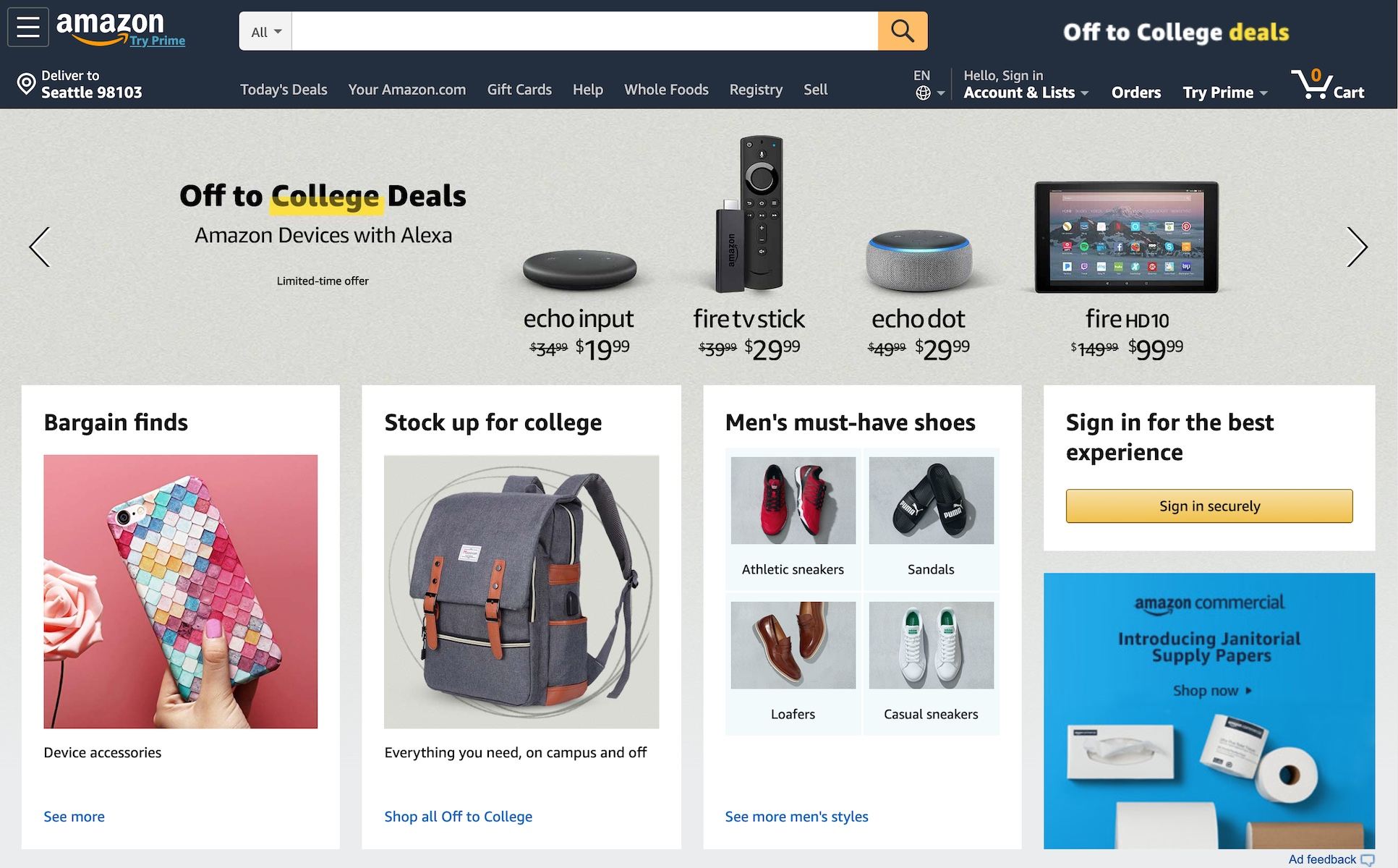 Amazon homepage in August (2019)