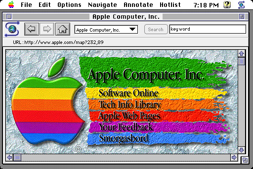 Apple.com as imagined in the NCSA Mosaic browser (1994)