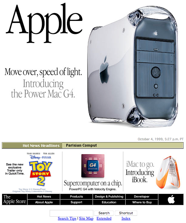 Apple homepage with the Power Mac G4 (1999)
