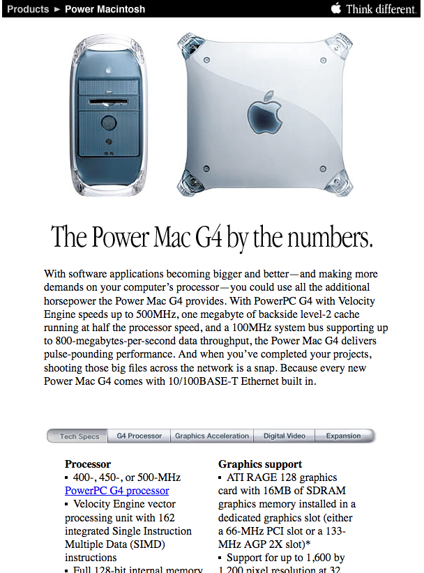 Power Mac G4 product detail page (1999)