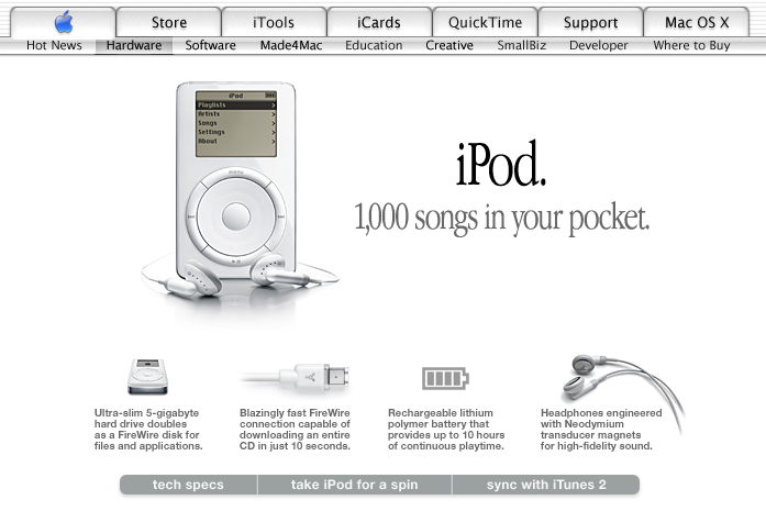 Apple homepage showcasing the iPod (2001)