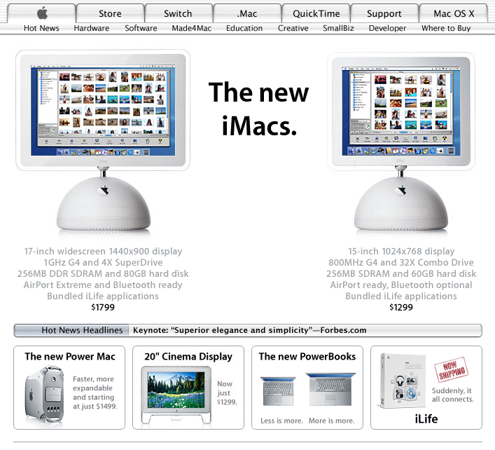 Apple homepage showing redesigned iMac (2003)