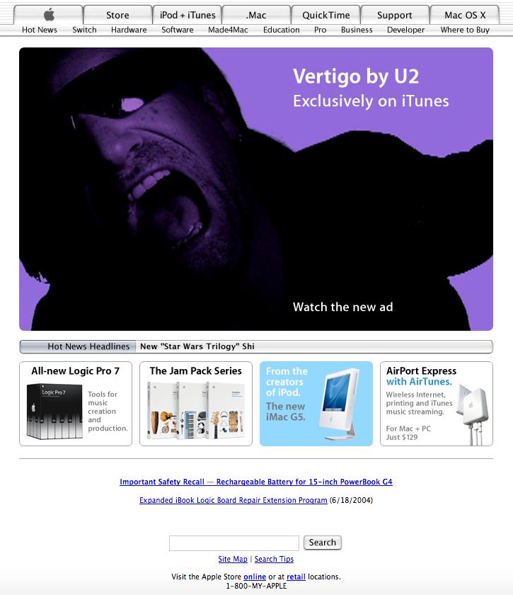 Homepage U2 promotion (2004)