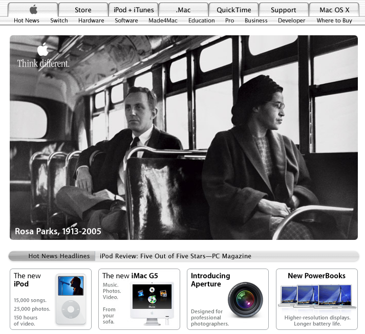 Apple homepage after passing of Rosa Parks in October (2005)