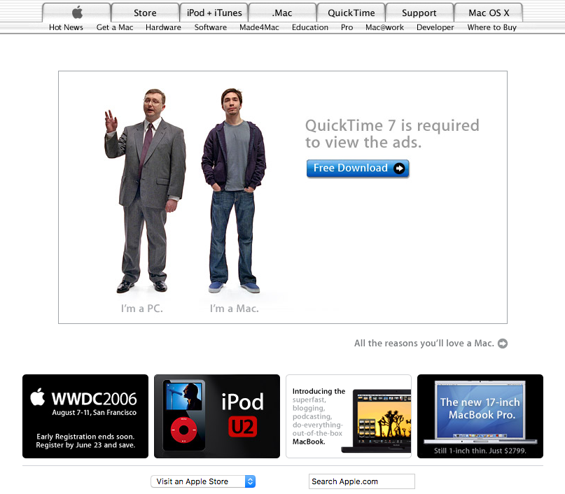 "Homepage with ""I'm a Mac, I'm a PC"" quicktime ad (2006)"