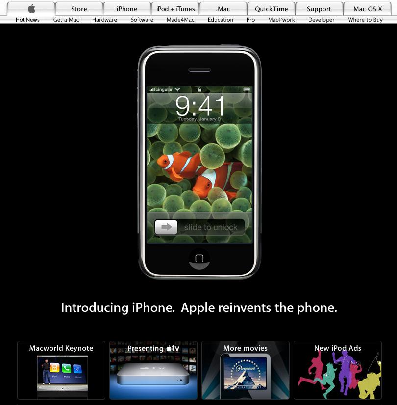 Apple homepage showing original iPhone model (2007)