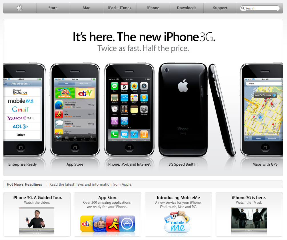 Apple homepage announcing the iPhone 3G (2008)
