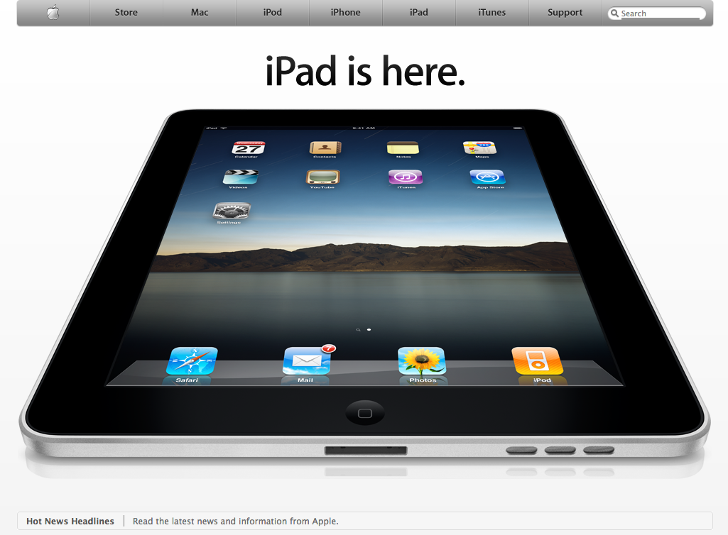 Apple homepage announcing the original iPad (2010)