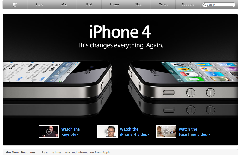 Homepage iPhone 4 promotion (2010)