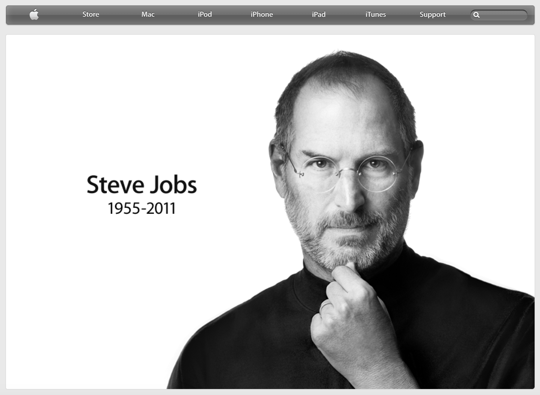 Homepage after passing of Steve Jobs (2011)