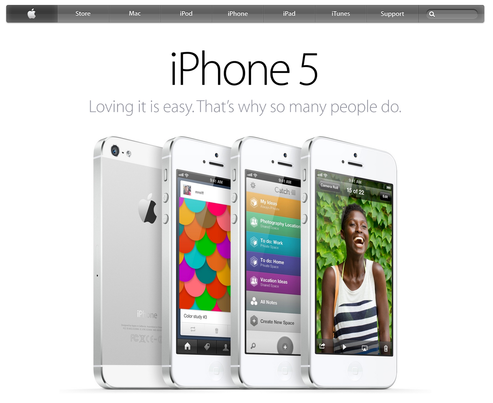 Apple homepage showing iPhone 5 (2013)