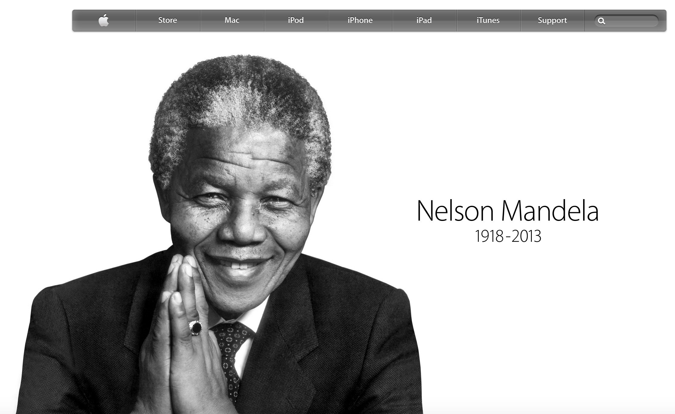 Homepage after the death of Nelson Mandela (2013)