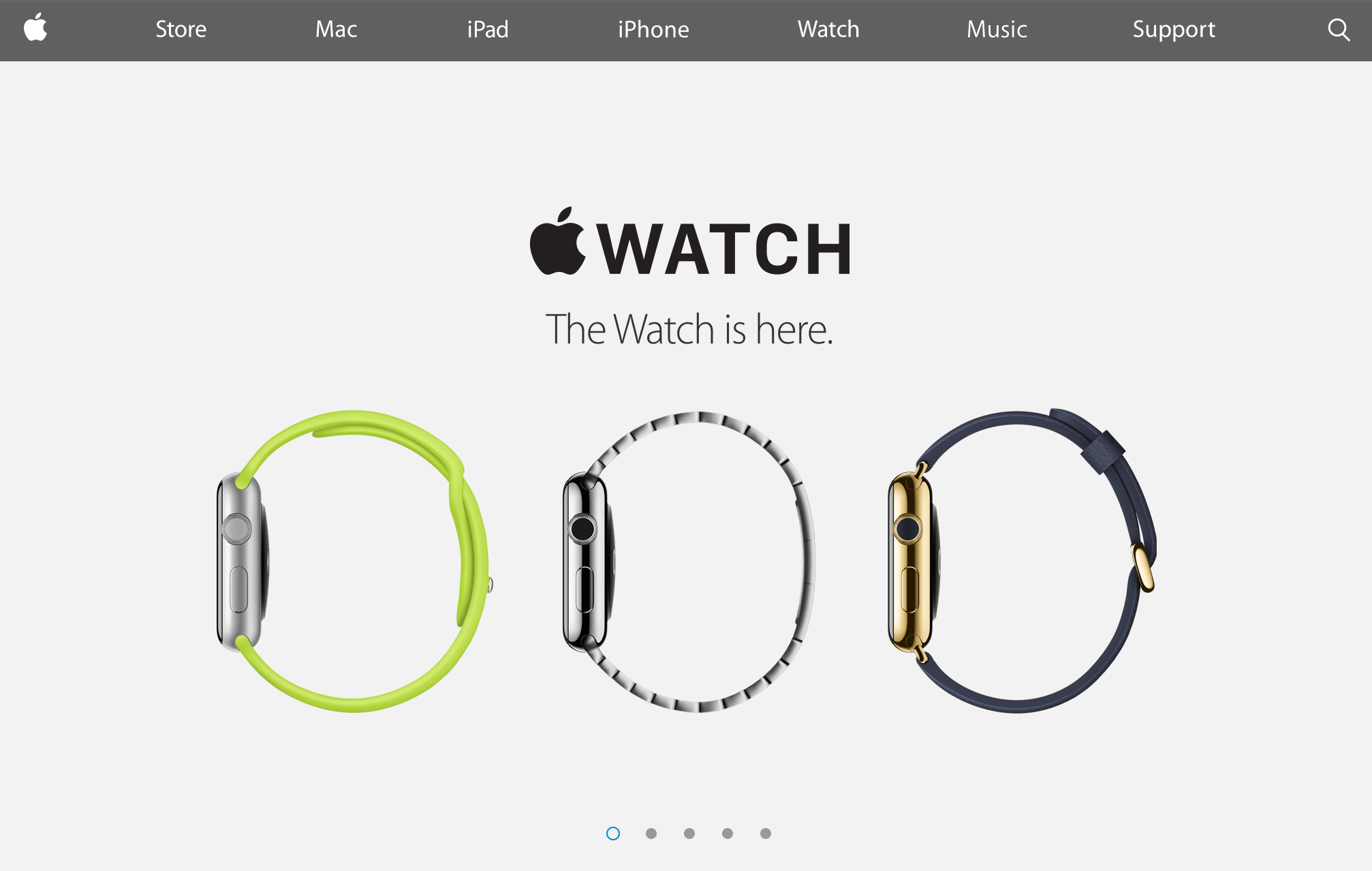 Homepage touting the Apple Watch (2015)