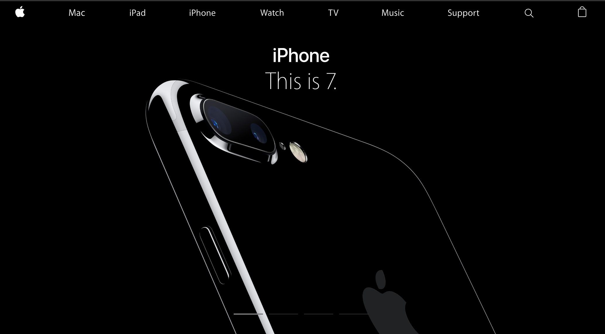Apple homepage showing iPhone 7 (2016)