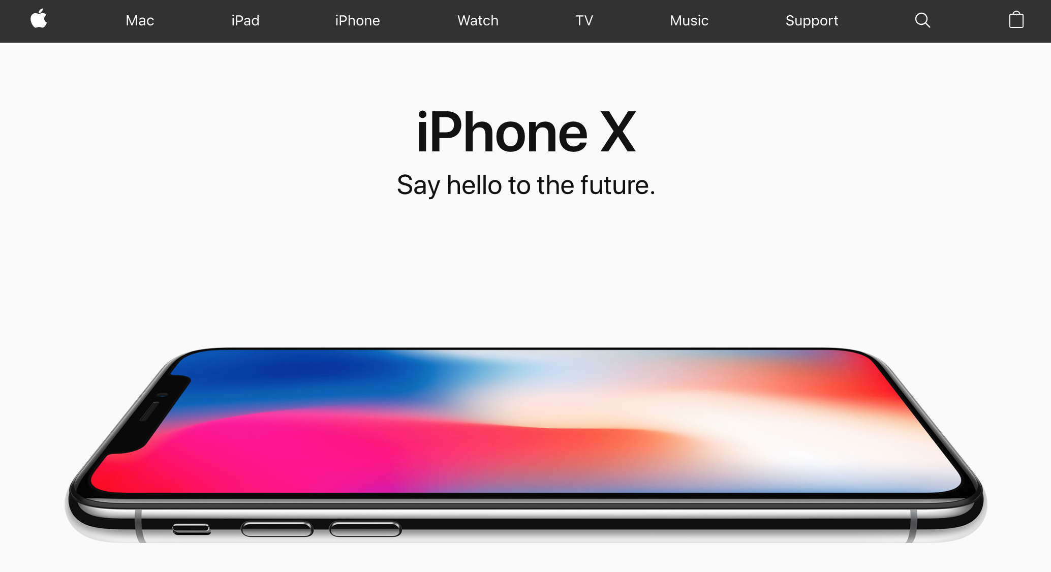 Apple homepage showing iPhone X (2017)