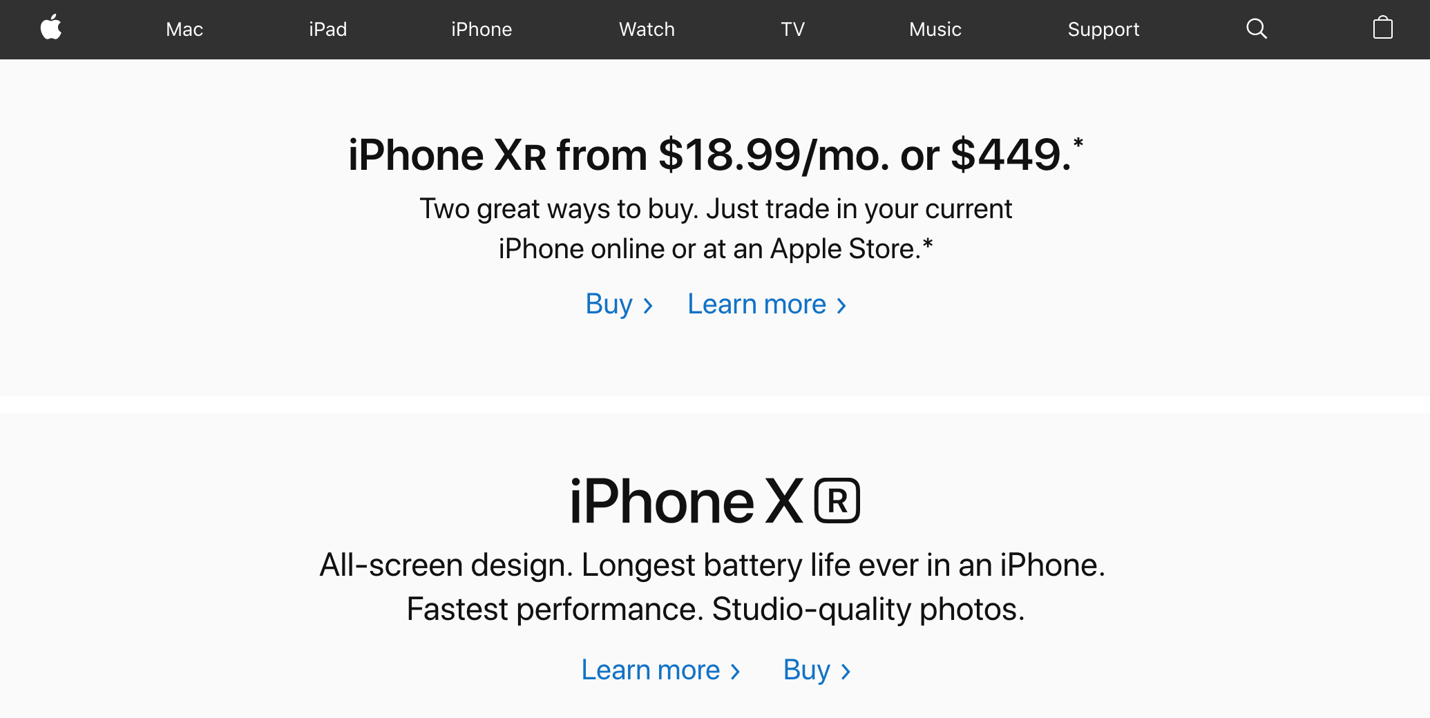 Apple homepage showing iPhone Xr promotion (2019)