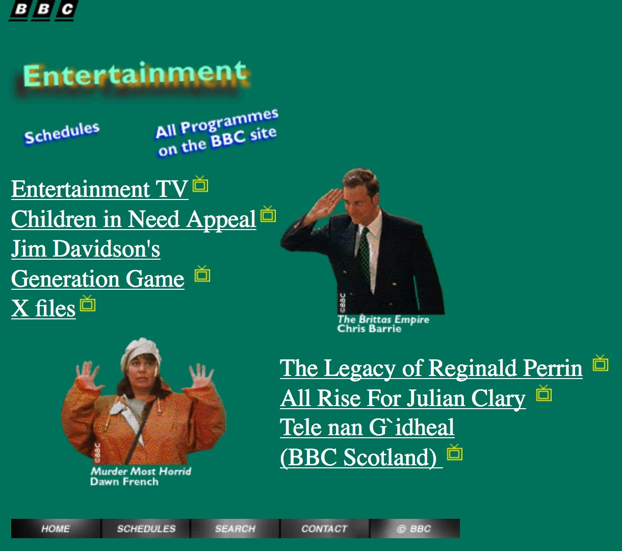 BBC.co.uk entertainment homepage (1997)