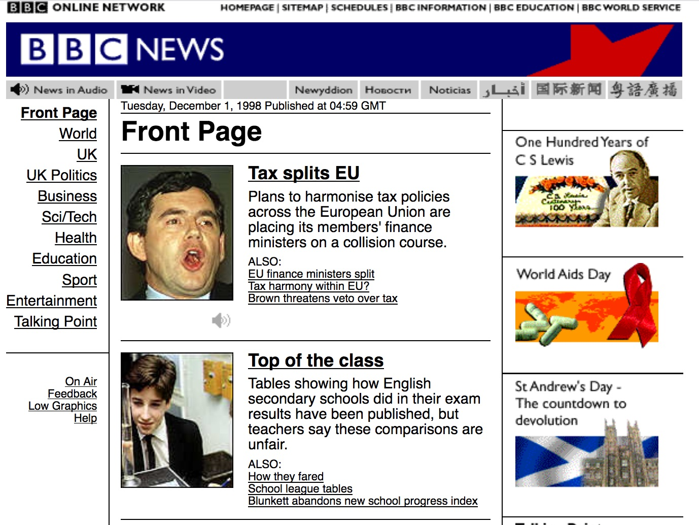 BBC.co.uk news homepage (1998)