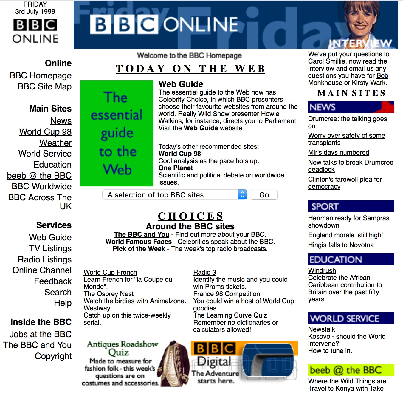 BBC.co.uk Homepage (1998)