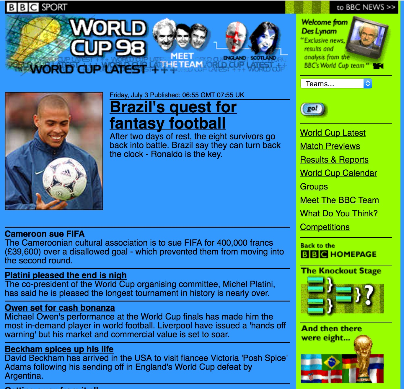BBC.co.uk World Cup site (1998)