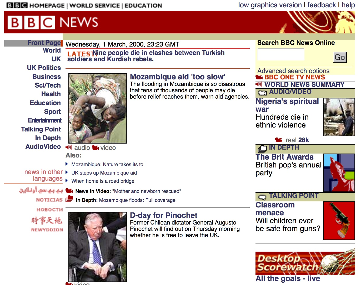 BBC.co.uk news homepage (2000)