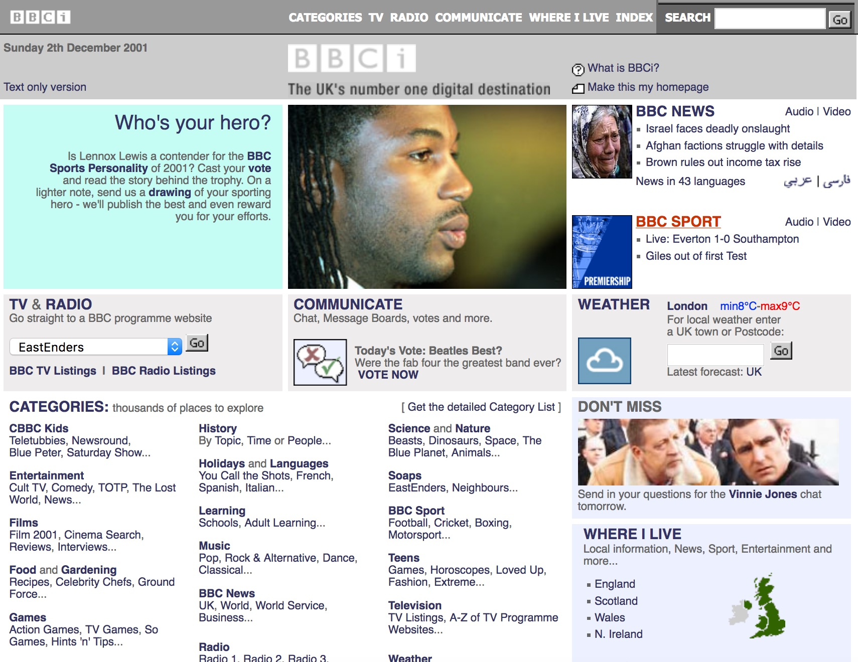 BBC.co.uk homepage (2001)