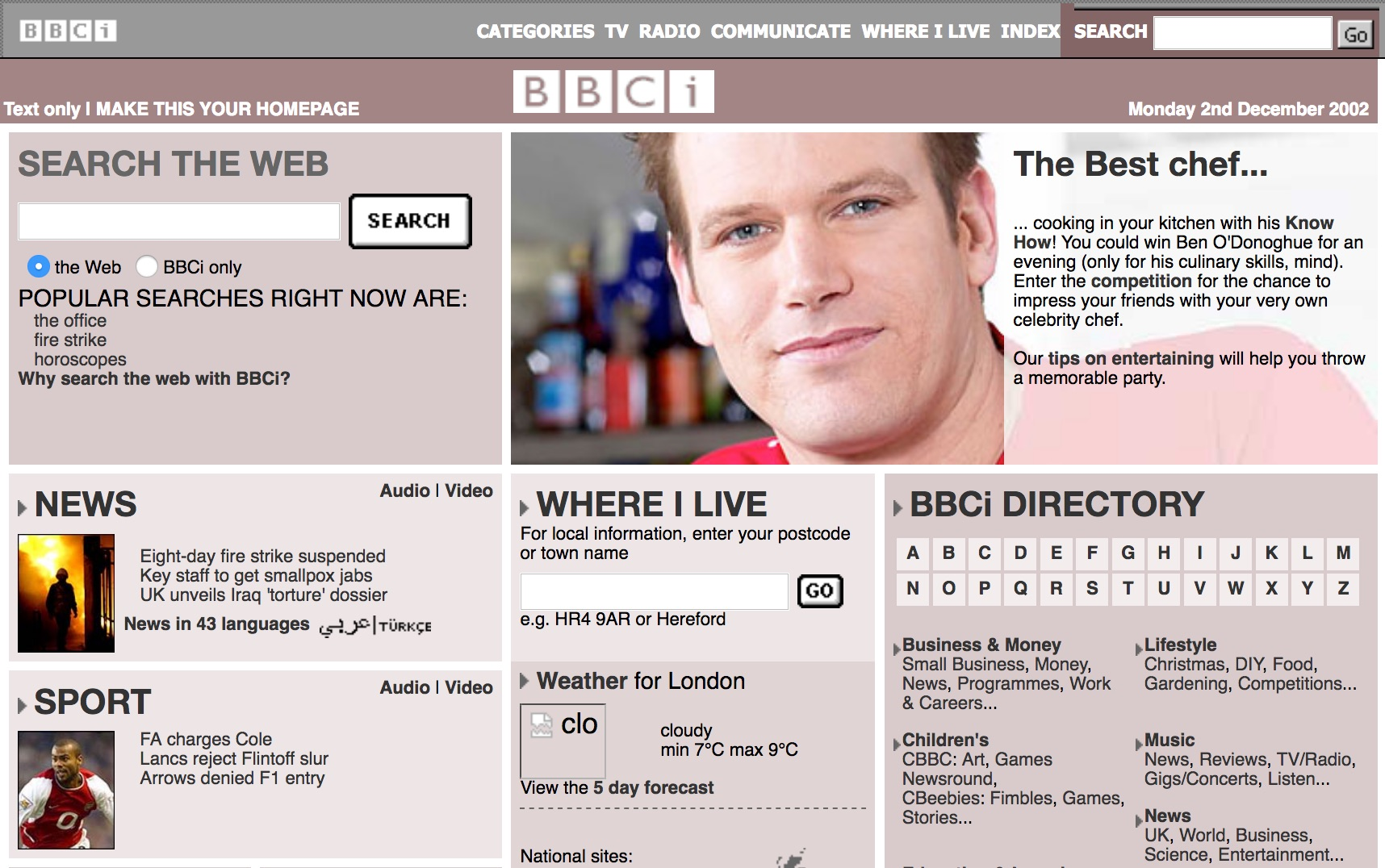 BBC.co.uk homepage (2002)