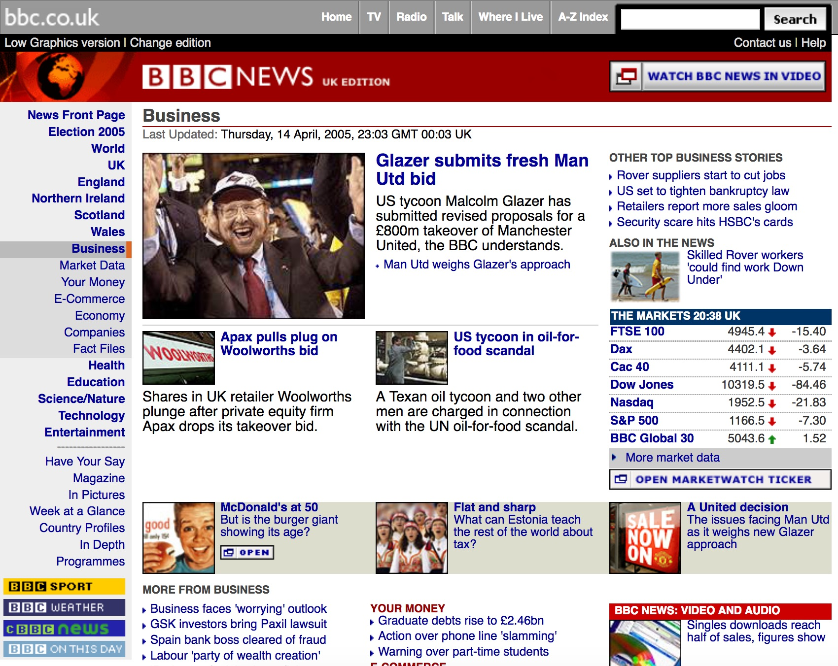 BBC.co.uk news homepage (2005)