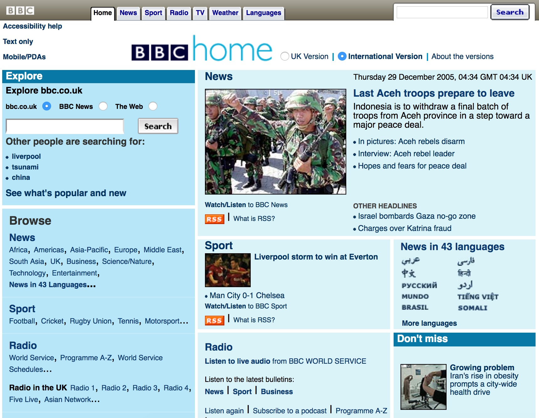 BBC.co.uk homepage (2005)