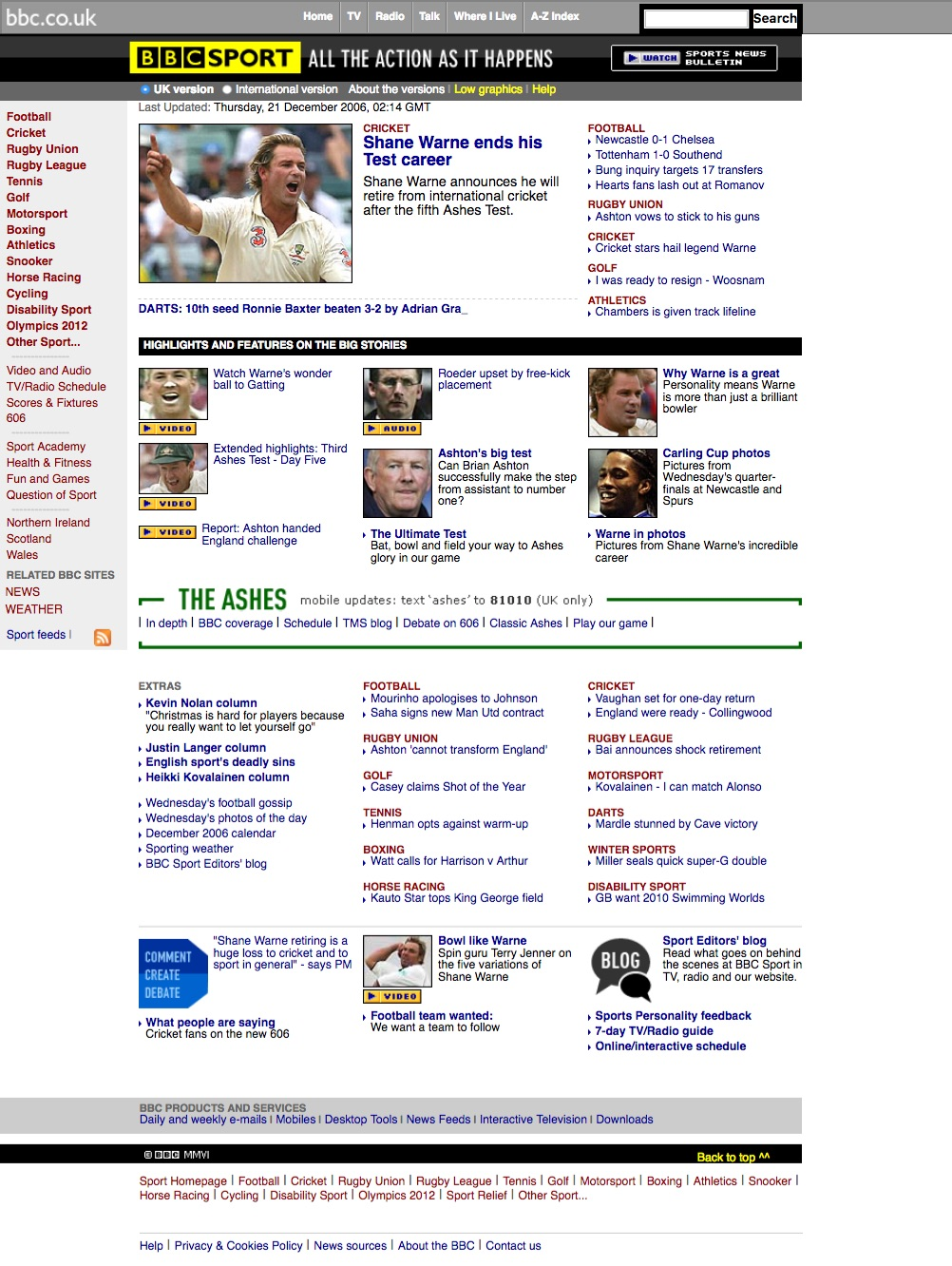 BBC.co.uk sports homepage (2006)