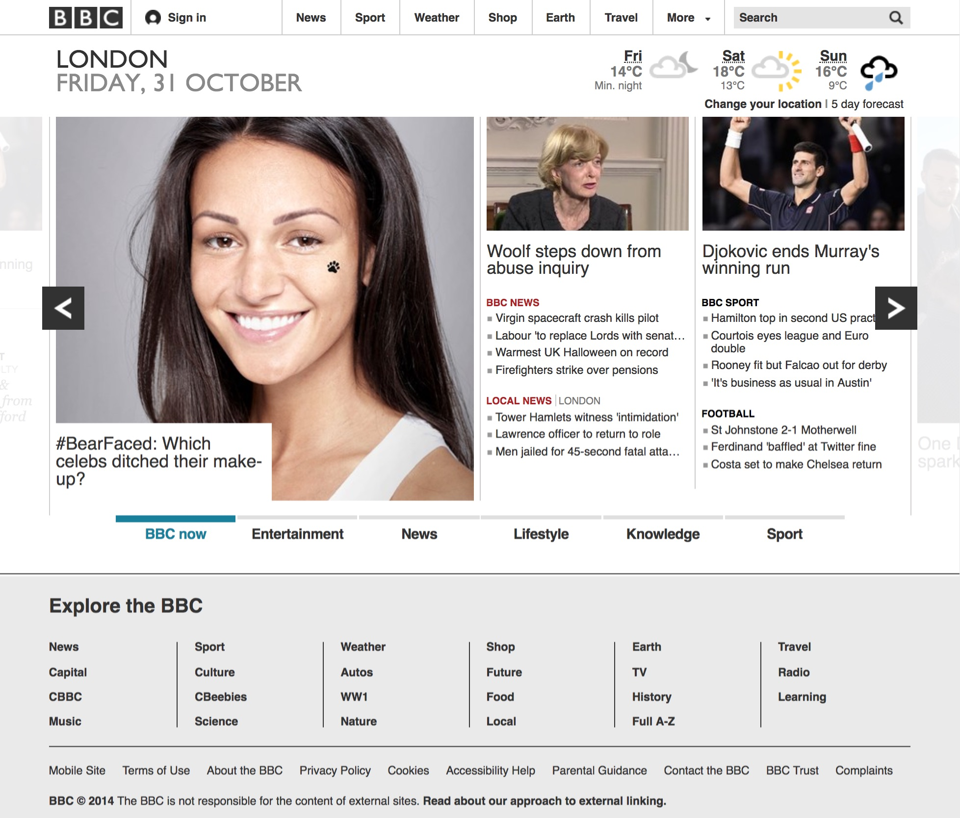 BBC.co.uk homepage (2014)