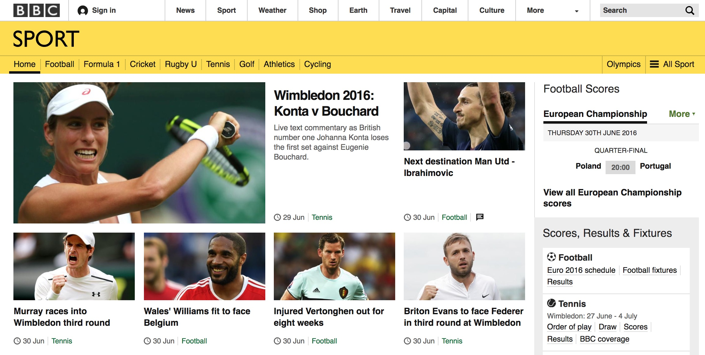 BBC.co.uk homepage (2016)