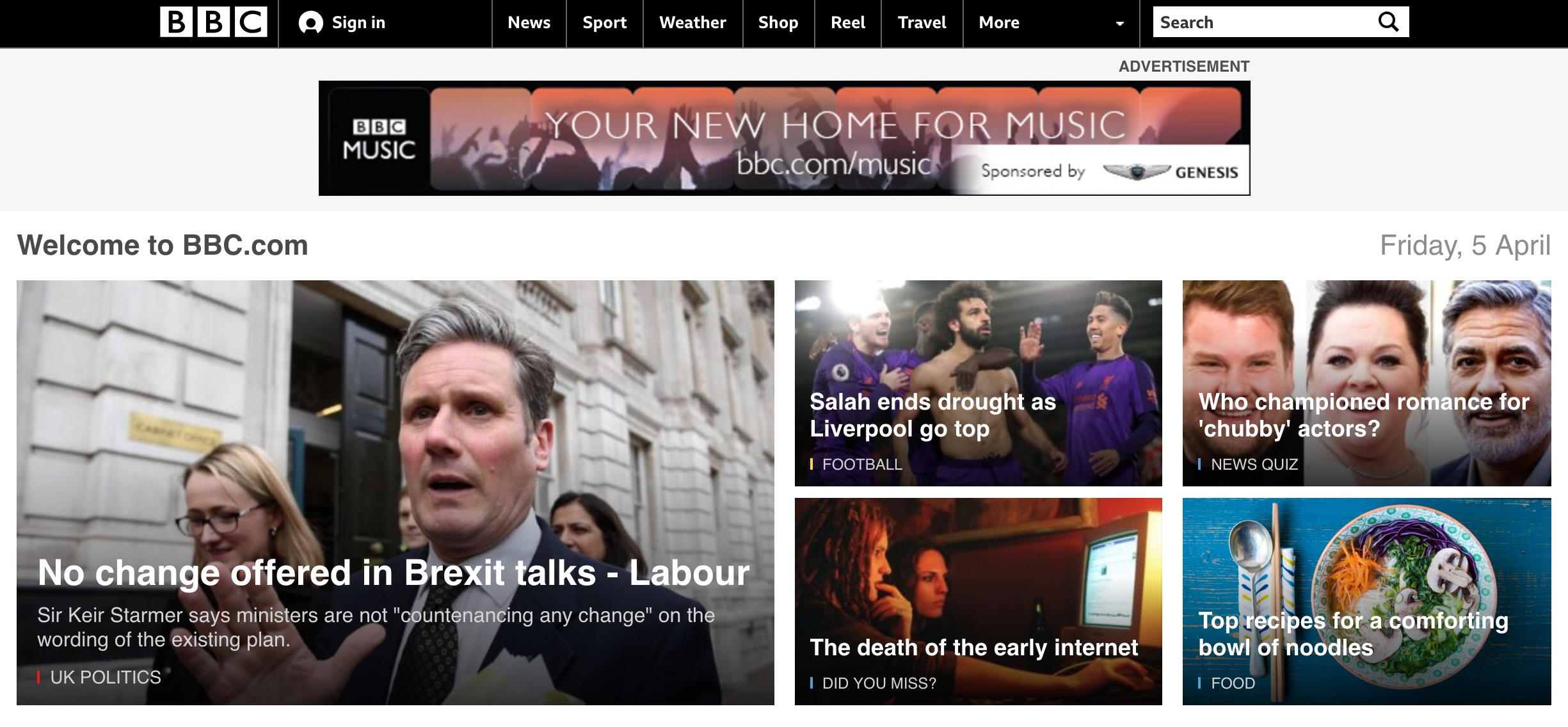 BBC.co.uk homepage (2019)