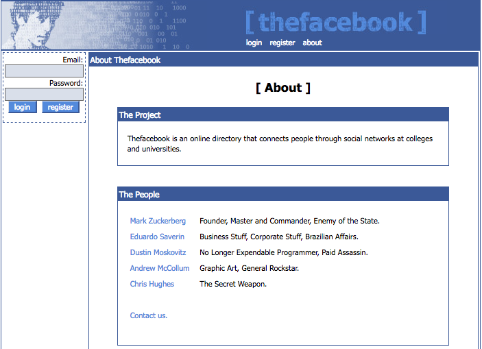 """The Facebook"" About page (note the snarky titles) (2004)"