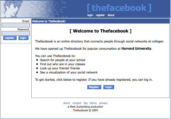 """The Facebook"" homepage/login page (2004)"