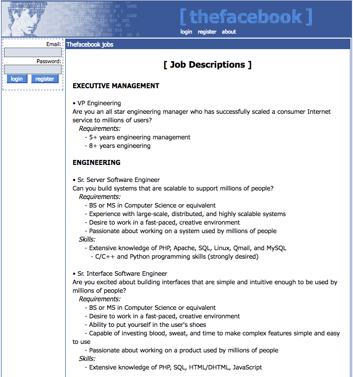 """The Facebook"" jobs/hiring page (2004)"