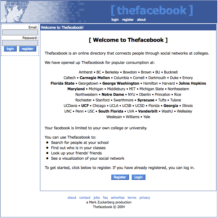 """The Facebook"" login page with schools added (2004)"
