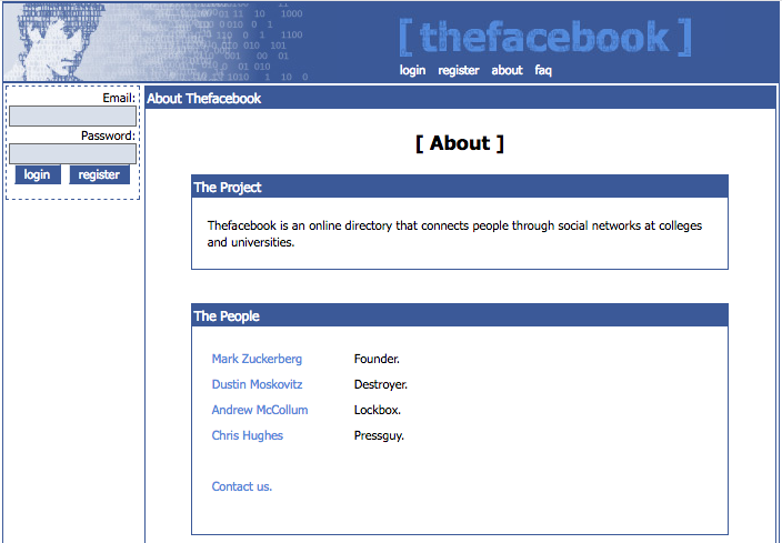 "Facebook ""About"" page (note the snarky titles) (2005)"