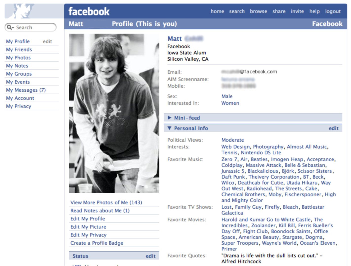 "Profile page post-redesign and removal of ""The"" (2005)"