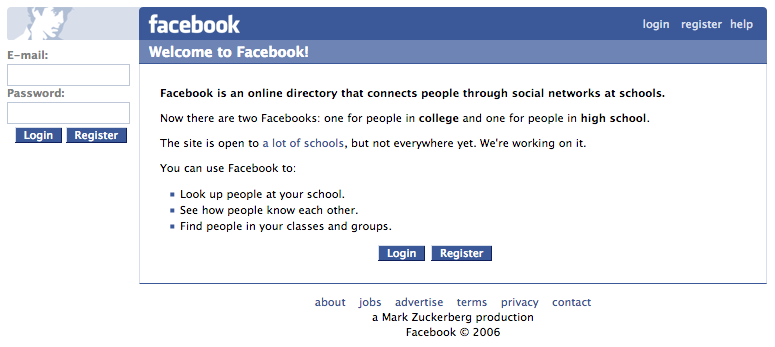 "Facebook login homepage with ""The"" removed (2006)"