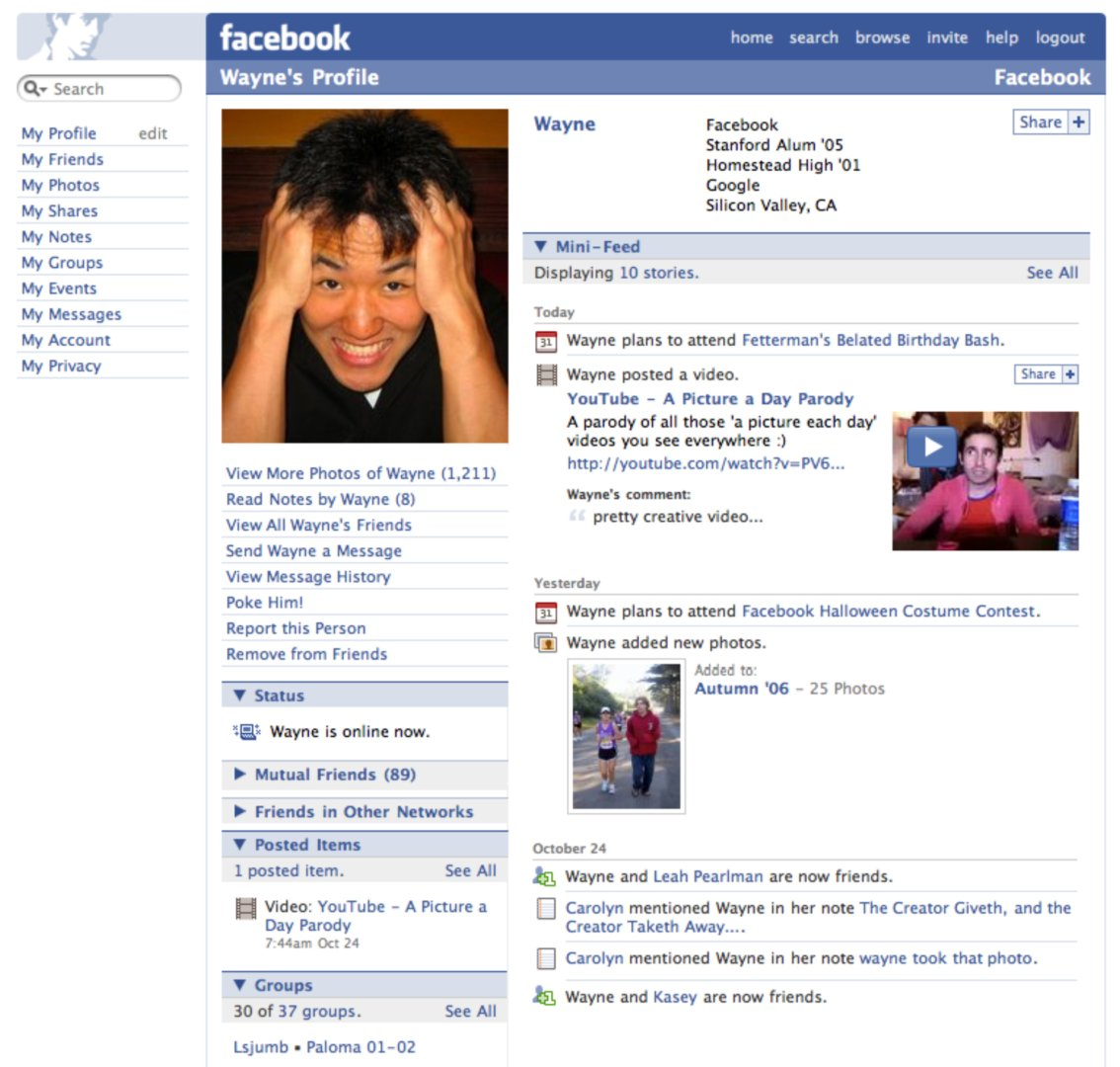 Facebook profile page (2006)