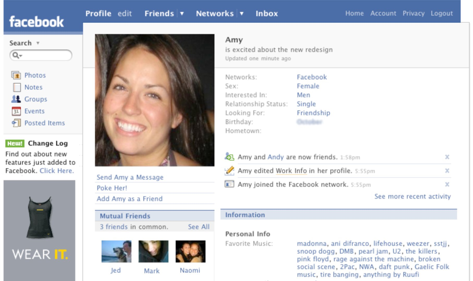 Facebook profile page (2007)
