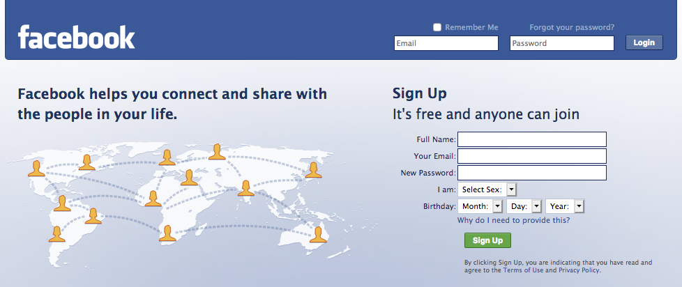 Facebook new login page (2008)