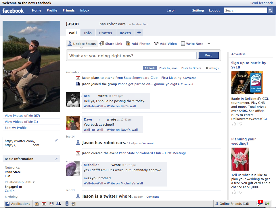 Facebook profile page (2008)